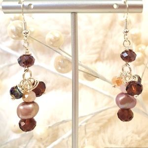 Handmade Sterling Earrings Baroque Pearl Purple